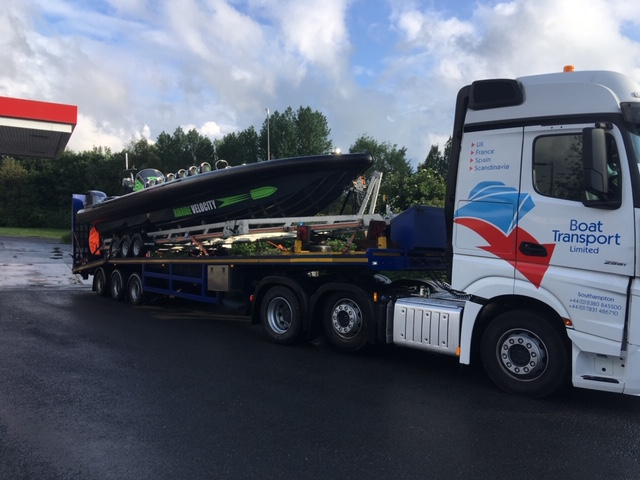 High Speed RIB & Launching Trailer now Safely Aboard our New Sloper Trailer